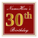 [ Thumbnail: Elegant, Red, Faux Gold 30th Birthday; Custom Name Invitation ]
