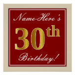 [ Thumbnail: Elegant, Red, Faux Gold 30th Birthday; Custom Name Poster ]
