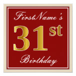 [ Thumbnail: Elegant, Red, Faux Gold 31st Birthday; Custom Name Invitation ]