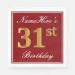 [ Thumbnail: Elegant Red, Faux Gold 31st Birthday + Custom Name Napkin ]