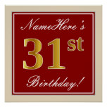 [ Thumbnail: Elegant, Red, Faux Gold 31st Birthday; Custom Name Poster ]