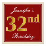 [ Thumbnail: Elegant, Red, Faux Gold 32nd Birthday; Custom Name Invitation ]