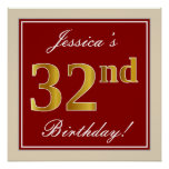 [ Thumbnail: Elegant, Red, Faux Gold 32nd Birthday; Custom Name Poster ]
