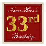 [ Thumbnail: Elegant, Red, Faux Gold 33rd Birthday; Custom Name Invitation ]
