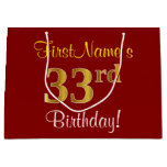 [ Thumbnail: Elegant, Red, Faux Gold 33rd Birthday; Custom Name Gift Bag ]