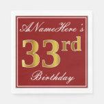 [ Thumbnail: Elegant Red, Faux Gold 33rd Birthday + Custom Name Napkin ]