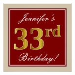 [ Thumbnail: Elegant, Red, Faux Gold 33rd Birthday; Custom Name Poster ]