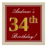 [ Thumbnail: Elegant, Red, Faux Gold 34th Birthday; Custom Name Poster ]