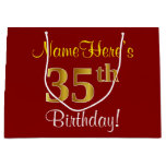 [ Thumbnail: Elegant, Red, Faux Gold 35th Birthday; Custom Name Gift Bag ]