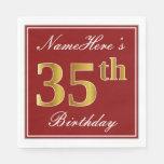 [ Thumbnail: Elegant Red, Faux Gold 35th Birthday + Custom Name Paper Napkin ]