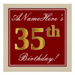 [ Thumbnail: Elegant, Red, Faux Gold 35th Birthday; Custom Name Poster ]