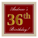 [ Thumbnail: Elegant, Red, Faux Gold 36th Birthday; Custom Name Poster ]