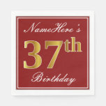 [ Thumbnail: Elegant Red, Faux Gold 37th Birthday + Custom Name Napkin ]
