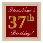 [ Thumbnail: Elegant, Red, Faux Gold 37th Birthday; Custom Name Poster ]