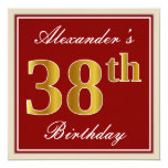 [ Thumbnail: Elegant, Red, Faux Gold 38th Birthday; Custom Name Invitation ]