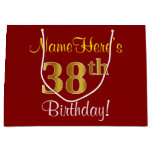 [ Thumbnail: Elegant, Red, Faux Gold 38th Birthday; Custom Name Gift Bag ]