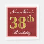 [ Thumbnail: Elegant Red, Faux Gold 38th Birthday + Custom Name Napkin ]
