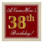 [ Thumbnail: Elegant, Red, Faux Gold 38th Birthday; Custom Name Poster ]