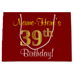 [ Thumbnail: Elegant, Red, Faux Gold 39th Birthday; Custom Name Gift Bag ]