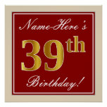 [ Thumbnail: Elegant, Red, Faux Gold 39th Birthday; Custom Name Poster ]