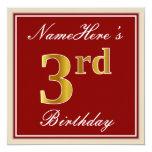 [ Thumbnail: Elegant, Red, Faux Gold 3rd Birthday + Custom Name Invitation ]