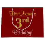 [ Thumbnail: Elegant, Red, Faux Gold 3rd Birthday + Custom Name Gift Bag ]
