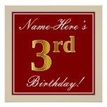 [ Thumbnail: Elegant, Red, Faux Gold 3rd Birthday + Custom Name Poster ]