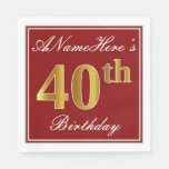 [ Thumbnail: Elegant Red, Faux Gold 40th Birthday + Custom Name Paper Napkin ]