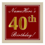 [ Thumbnail: Elegant, Red, Faux Gold 40th Birthday; Custom Name Poster ]