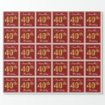 [ Thumbnail: Elegant, Red, Faux Gold 40th Birthday; Custom Name Wrapping Paper ]