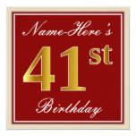 [ Thumbnail: Elegant, Red, Faux Gold 41st Birthday; Custom Name Invitation ]