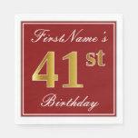 [ Thumbnail: Elegant Red, Faux Gold 41st Birthday + Custom Name Napkin ]