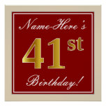 [ Thumbnail: Elegant, Red, Faux Gold 41st Birthday; Custom Name Poster ]