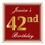 [ Thumbnail: Elegant, Red, Faux Gold 42nd Birthday; Custom Name Invitation ]