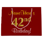 [ Thumbnail: Elegant, Red, Faux Gold 42nd Birthday; Custom Name Gift Bag ]