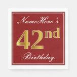 [ Thumbnail: Elegant Red, Faux Gold 42nd Birthday + Custom Name Napkin ]