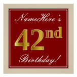 [ Thumbnail: Elegant, Red, Faux Gold 42nd Birthday; Custom Name Poster ]