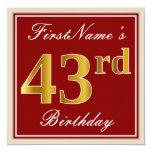 [ Thumbnail: Elegant, Red, Faux Gold 43rd Birthday; Custom Name Invitation ]