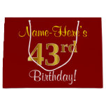 [ Thumbnail: Elegant, Red, Faux Gold 43rd Birthday; Custom Name Gift Bag ]