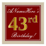 [ Thumbnail: Elegant, Red, Faux Gold 43rd Birthday; Custom Name Poster ]
