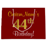[ Thumbnail: Elegant, Red, Faux Gold 44th Birthday; Custom Name Gift Bag ]