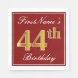 [ Thumbnail: Elegant Red, Faux Gold 44th Birthday + Custom Name Napkin ]