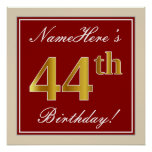 [ Thumbnail: Elegant, Red, Faux Gold 44th Birthday; Custom Name Poster ]
