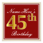 [ Thumbnail: Elegant, Red, Faux Gold 45th Birthday; Custom Name Invitation ]