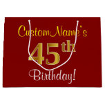 [ Thumbnail: Elegant, Red, Faux Gold 45th Birthday; Custom Name Gift Bag ]