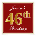 [ Thumbnail: Elegant, Red, Faux Gold 46th Birthday; Custom Name Invitation ]
