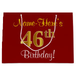 [ Thumbnail: Elegant, Red, Faux Gold 46th Birthday; Custom Name Gift Bag ]