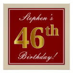[ Thumbnail: Elegant, Red, Faux Gold 46th Birthday; Custom Name Poster ]