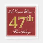 [ Thumbnail: Elegant Red, Faux Gold 47th Birthday + Custom Name Napkin ]