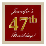 [ Thumbnail: Elegant, Red, Faux Gold 47th Birthday; Custom Name Poster ]